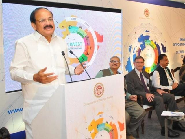Union minister for urban development Venkaiah Naidu addresses the closing ceremony of the summit at the Brilliant convention centre in Indore.