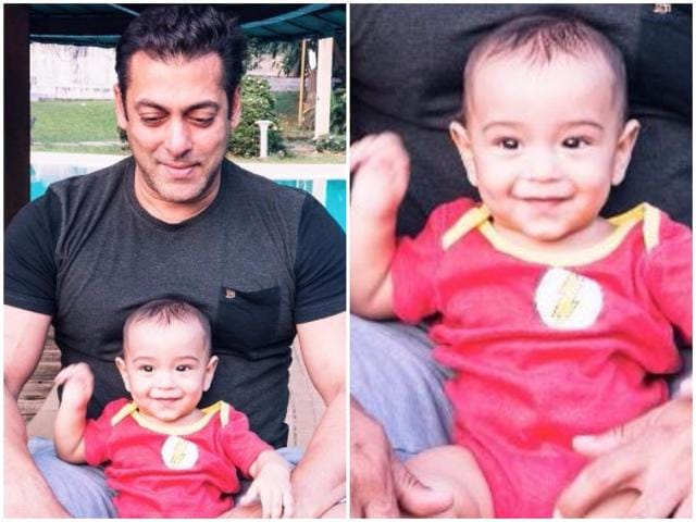 An old photo of Ahil with his daddy dearest Aayush Sharma.