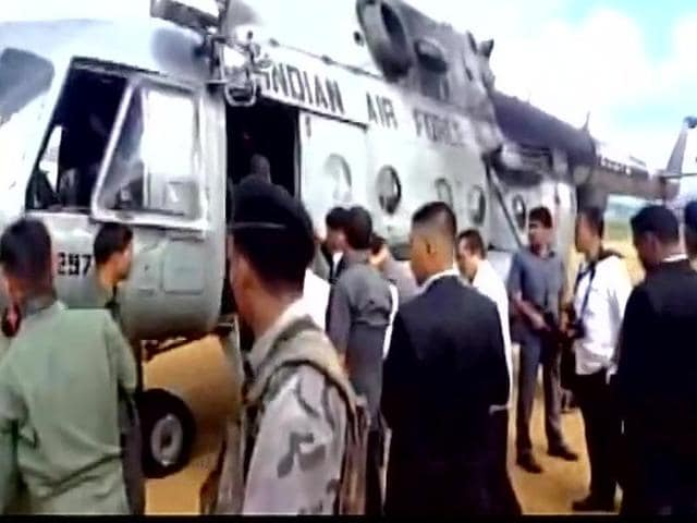 The chopper carrying Manipur CM Okram Ibobi Singh, deputy chief minister Gaikhangam and the others was fired at.(ANI Photo)
