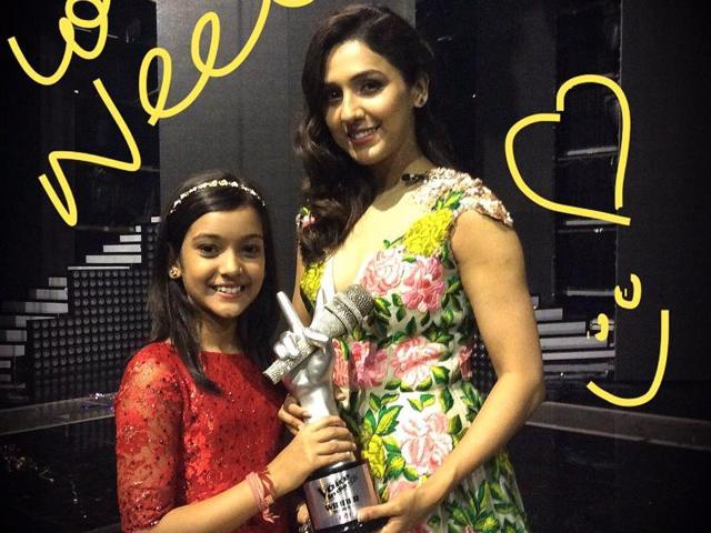 Singer Neeti Mohan with the winner of The Voice India Kids, Nishtha Sharma.