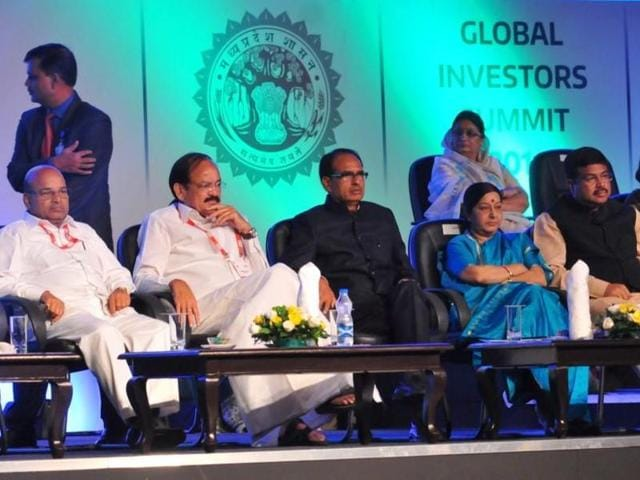 Chief minister Shivraj Singh Chouhan, Union minister Sushma Swaraj at the Global Investors' Summit in Indore.