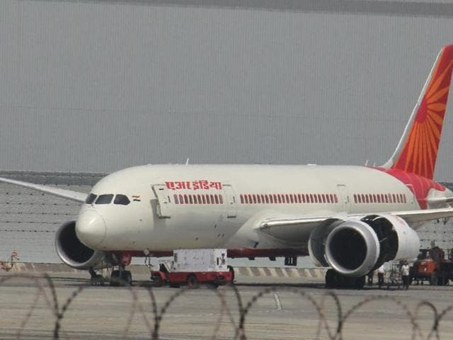 An Air India plane on Sunday made an emergency landing at the Indira Gandhi International airport here after its tyre burst while taking off from Udaipur.