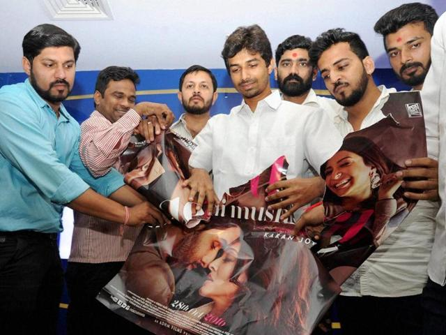 """BJP Yuva Morcha activists protest against the film Ae Dil Hai Mushkil in multiplexes in Mumbai. The BJP's ally Shiv Sena has criticised it for """"standing by Pakistani artists"""".(PTI)"""