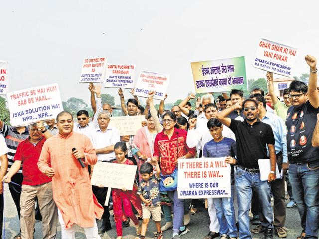 More than 300 families held a protest in Sector 111 on Sunday.