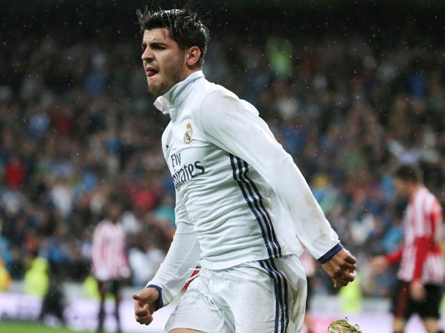 Morata fires home the winner for Real Madrid.