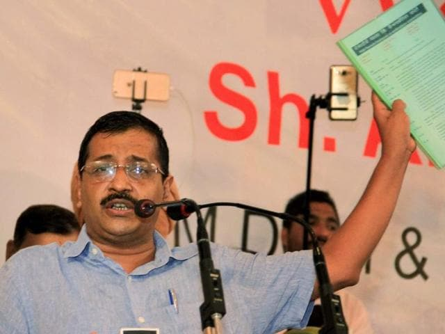 Delhi CM and AAP national convener Arvind Kejriwal addressing a gathering of traders, transporters and industrialists in Bathinda on Monday. The meeting was held after Kejriwal released party's manifesto for these sections in Ludhiana on Sunday.