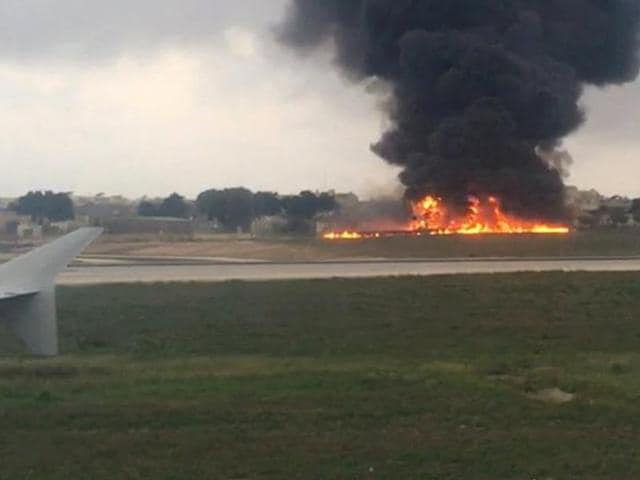 Officials say a light plane has crashed after takeoff from Malta International Airport, killing all five people on board. The twin-prop Metroliner tipped toward the right and crashed into the ground soon after lifting off at 7:20 a.m.