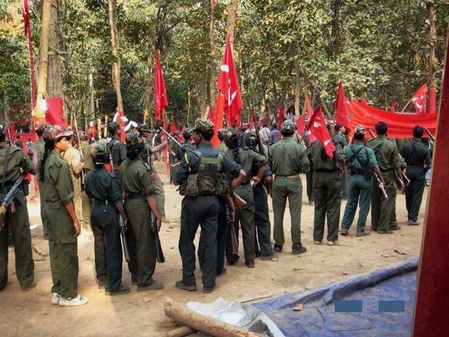 Maoists gather for a CPI (Maoist) congress in Chhattisgarh.