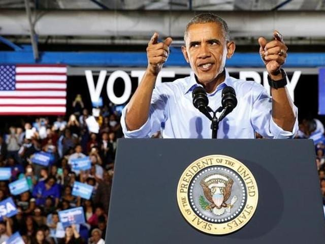 US President Barack Obama speaks at a rally to support Hillary Clinton's campaign in Las Vegas, Nevada.