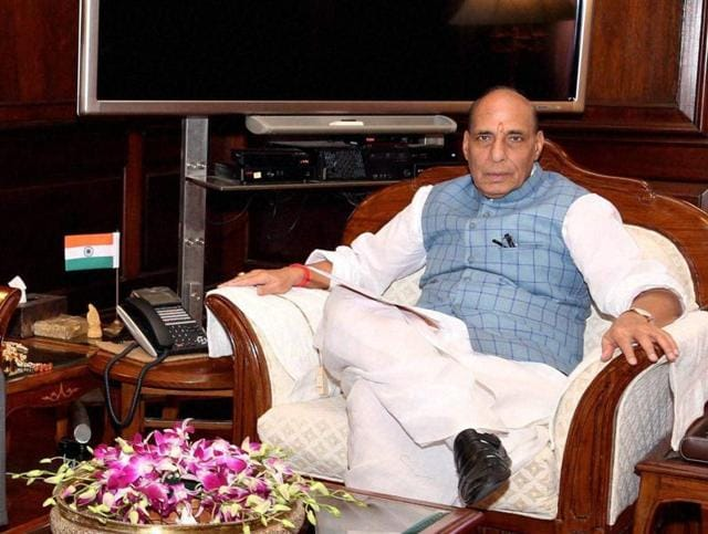 Union home minister Rajnath Singh with president of the national security agency of Bahrain, Sheikh Talal bin Mohammed bin Khalifa Al-Khalifa, in a meeting in New Delhi on Friday.