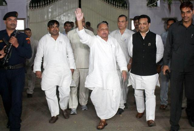 Samajwadi Party chief Mulayam Singh Yadav comes out after meeting at his residence in Lucknow on Sunday.