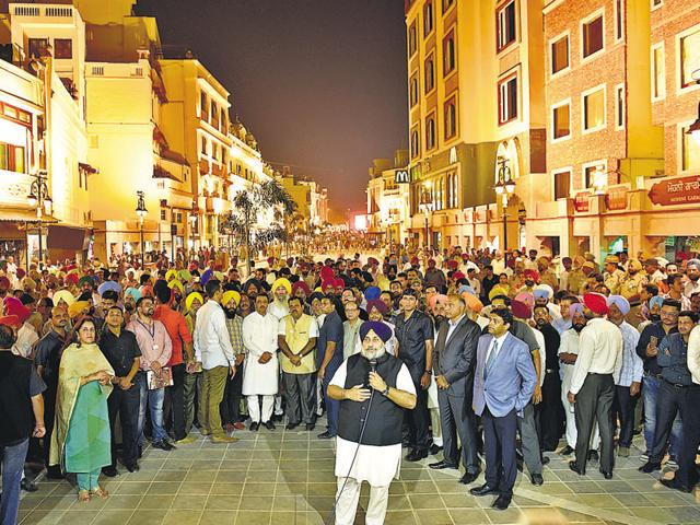 Deputy chief minister Sukhbir Singh Badal addressing mediapersons as he unveiled the first phase of heritage corridor project in Amritsar on Monday.