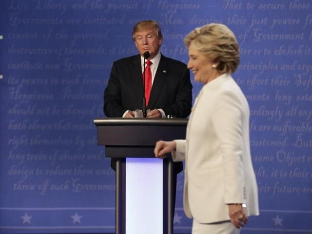Republican presidential nominee Donald Trump and Democratic presidential nominee Hillary Clinton during the third and final presidential debate.