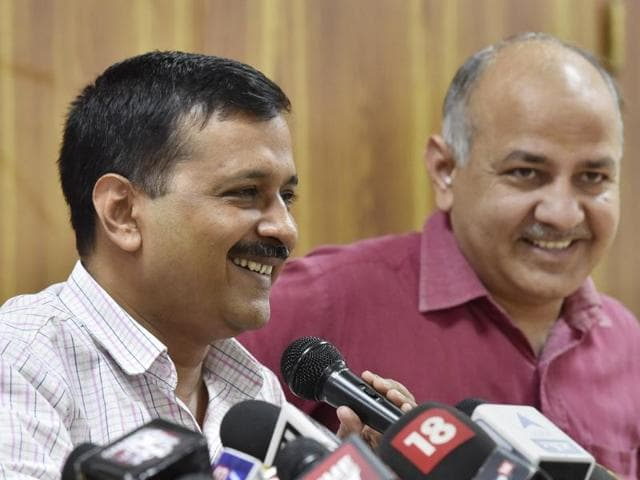 Delhi CM Arvind Kejriwal, along with deputy CM Manish Sisodia, briefs the media after a cabinet meet, in New Delhi on Saturday.