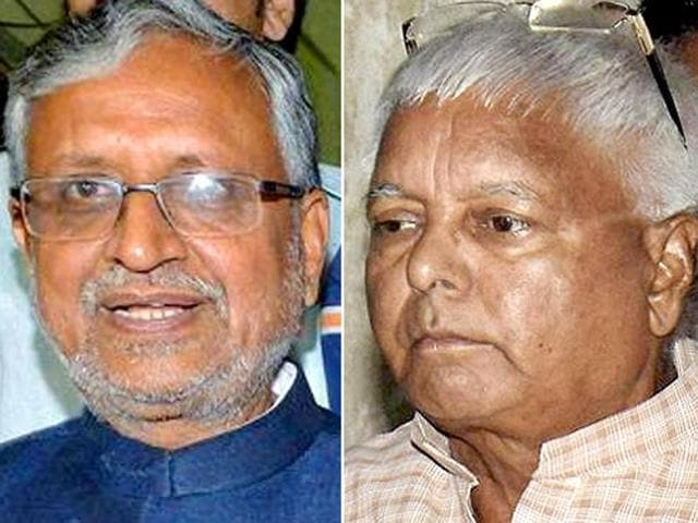 A combination photograph of RJD chief Lalu Prasad and BJP leader Sushil Kumar Modi.