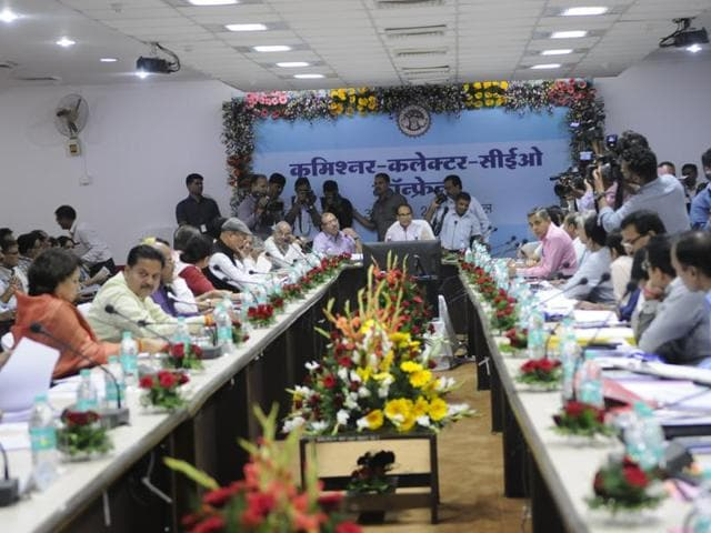Chief minister Shivraj Singh Chouhan holding the commissioners, collectors and CEOs conference at Narmada Bhawan in Bhopal on Tuesday.