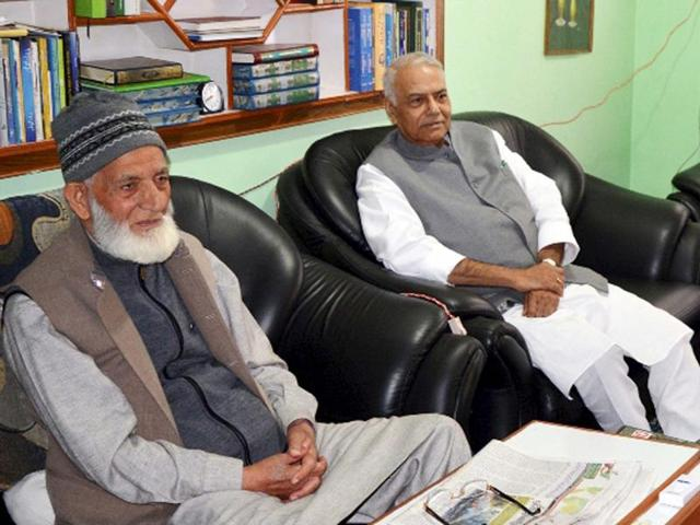 A five-member delegation headed by former Union minister and senior BJP leader Yashwant Sinha meeting with chairman of Hurriyat Conference Syed Ali Shah Geelani at his residence in Srinagar on Tuesday regarding the current crisis in Kashmir.