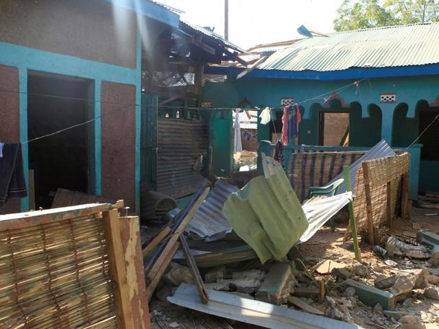 A general view shows the destruction following an attack at the Bisharo lodging by Islamist militants from the Somali group al Shabaab in Mandera, Kenya on Tuesday.