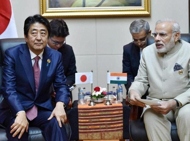 Vientiane: Prime Minister Narendra Modi with his Japanese counterpart Shinzo Abe during a bilateral meeting at 28th and 29th ASEAN Summit in Vientiane, Laos