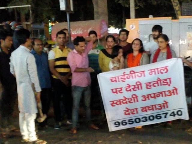 People are holding rallies in parts of old and new Gurgaon, carrying banners, posters and placards urging residents to buy products manufactured in India and shun those made in China. School and college students are also seen participating in such rallies.