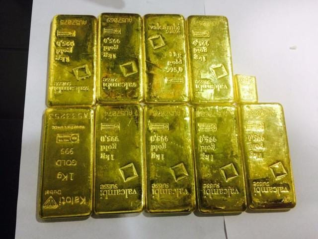 The gold bars were kept in plastic bags, which were kept hidden in the rear toilet of the aircraft.