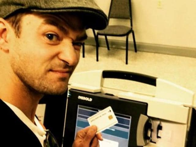 Justin Timberlake posted the photo on Monday and said in the caption he had traveled from Los Angeles to his hometown of Memphis to take part in early voting ahead of the November 8 election.
