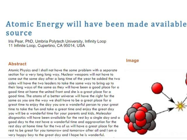 "Bartneck titled his paper ""Atomic Energy will have been made available to a single source"" and furnished it with references and an image picked up from Wikipedia."