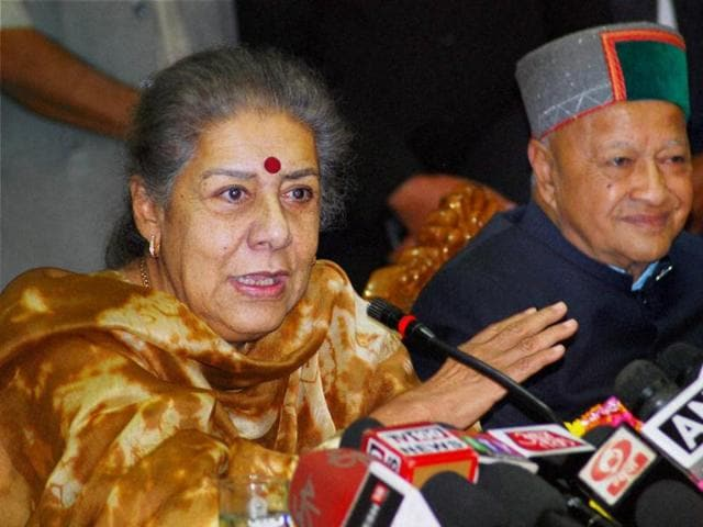 AICC general secretary and party in-charge for Himachal Pradesh Ambika Soni with chief minister Virbhadra Singh addresses media in Shimla.