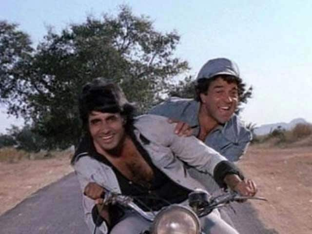 Amitabh Bachchan and Dharmendra in a scene from Sholay.