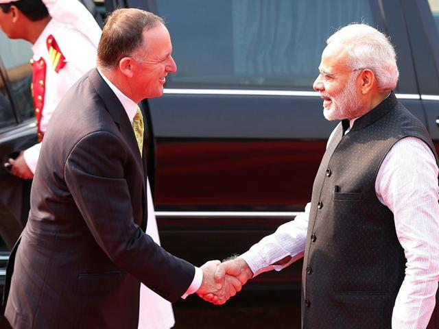 New Zealand's Prime Minister John Key shakes hands with his Indian counterpart Narendra Modi during his ceremonial reception at the Rashtrapati Bhavan presidential palace in New Delhi on Wednesday.