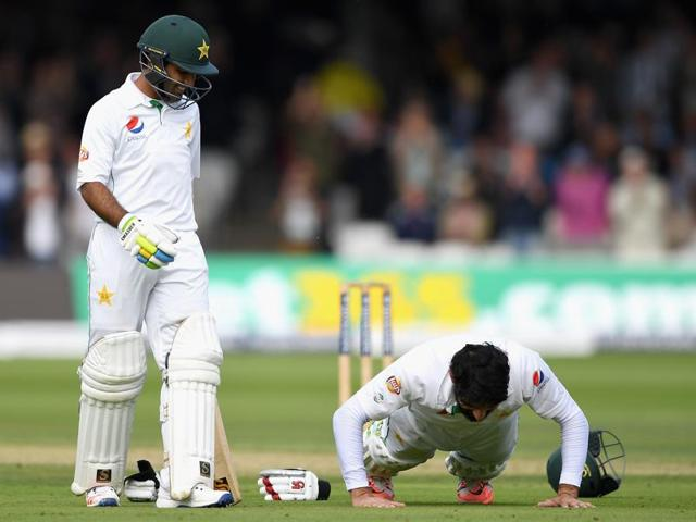The push-ups were first performed by skipper Misbah-ul-Haq when he completed his century on the opening day of the first Test against England in July.