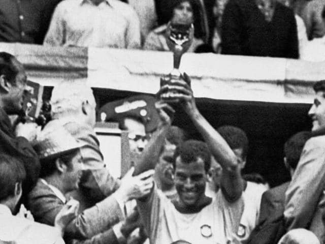 In this June 21, 1970 photo, Brazil's Carlos Alberto, right, scores Brazil's fourth goal, defeating Italy 4-1 in the Fifa World Cup final, at Azteca Stadium, in Mexico City. Alberto's strike is considered one of the great World Cup goals of all time.