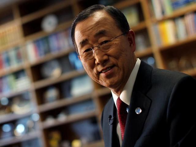 United Nations secretary general Ban Ki-moon at his desk his office at United Nations Headquarters in the Manhattan borough of New York, US.