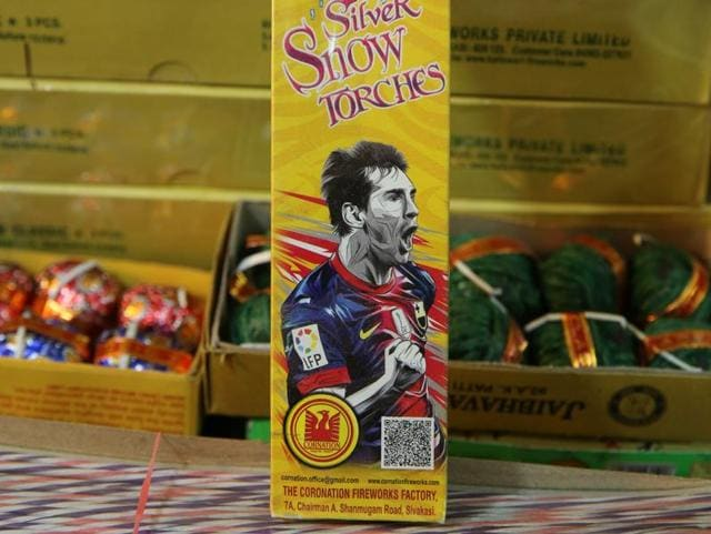 Football sensation Lionel Messi has made it to the covers of Indian firecrackers this Diwali.