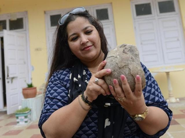 Aaliya Sultana Babi posing with fossilised dinosaur eggs at her palace in Balasinor.(AFP Photo)