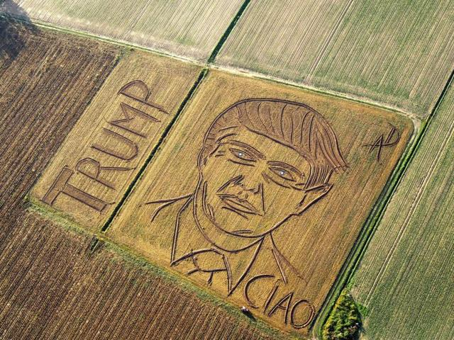 An aerial view of a giant portrait of Donald Trump made by Italian land artist Dario Gambarin using his tractor in a field near Verona in Italy.