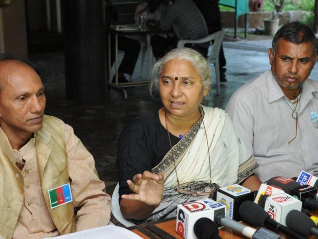 NBA leader Medha Patkar addressing a press conference in Bhopal on Wednesday.