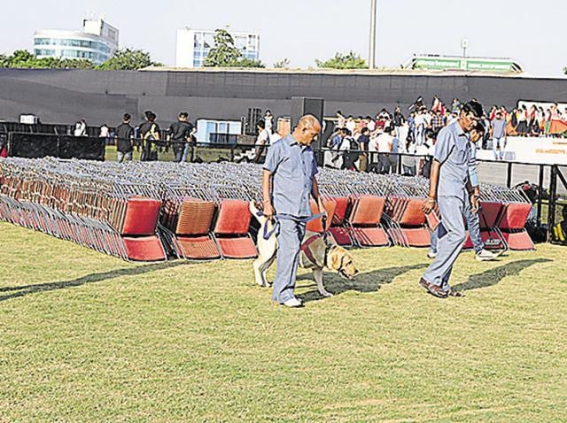 The authorities are making elaborate security arrangements for the Haryana Day event to be held at Tau Devi Lal Stadium.