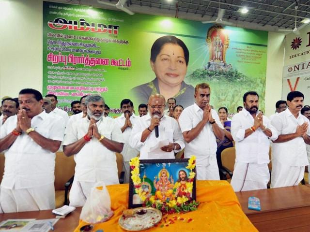 AIADMK members offering a group prayer for the speedy recovery of Tamil Nadu chief minister J Jayalalithaa in Coimbatore on October 21.