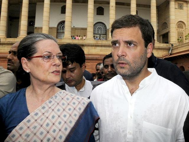 File photo of Congress president Sonia Gandhi and vice-president Rahul Gandhi at Parliament complex.