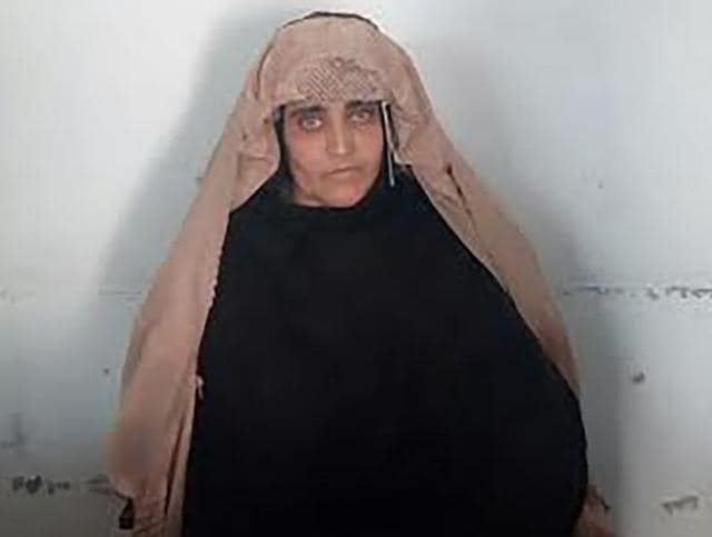 In this handout photograph released by Pakistan's Federal Investigation Agency (FIA), Afghan Sharbat Gula, the 'Afghan Girl' who appeared on the cover of a 1985 edition of National Geographic magazine, waits ahead of a court hearing in Peshawar.