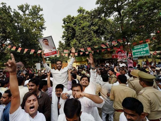 Supporters of UP chief minister Akhilesh Yadav outside the Samajwadi Party office in Lucknow.