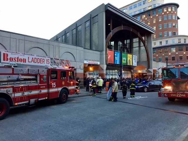 Fire engines outside Back Bay station where a commuter train filled up with smoke, in Boston, US, on October 26, 2016.
