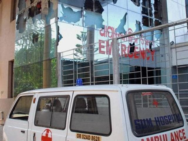 The damaged emergency ward of SUM hospital in Bhubaneswar. (PTI Photo)