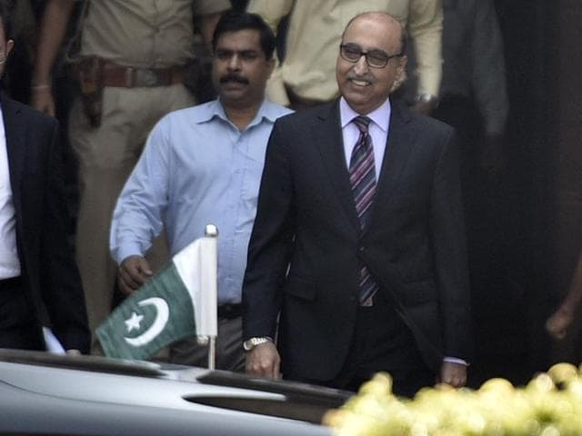Pakistani high commissioner Abdul Basit leaves the ministry of external affairs on Thursday.