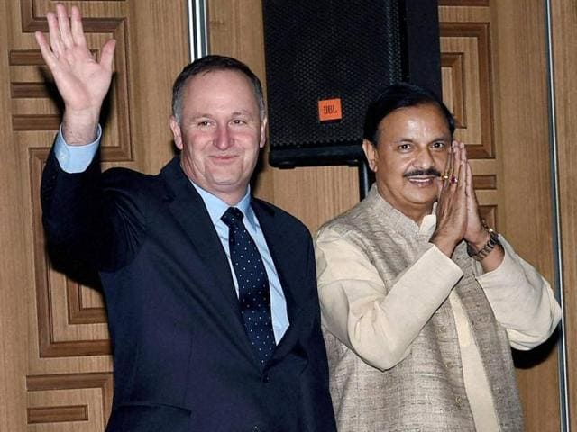 New Zealand Prime Minister, John Key, union culture and tourism minister Mahesh Sharma, bollywood actor and Tourism New Zealand's brand ambassador, Sidharth Malhotra and Former New Zealand Cricket Captain Brendon McCullum pose for a group photo at India- New Zealand Tourism Promotion Event in New Delhi.