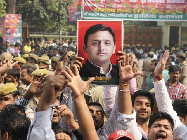 UPCM Akhilesh Yadav with his father, Samajwadi Party chief Mulayam Singh Yadav in Lucknow in early 2012. The party has been split over an ongoing feud between Akhilesh and his uncle, Shivpal Yadav.