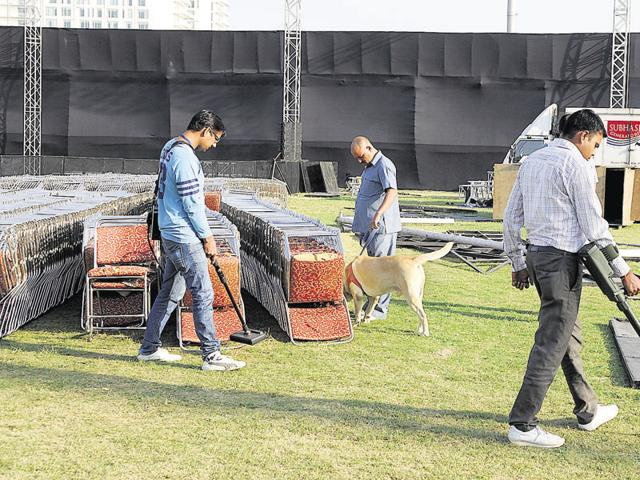 More than 4,500 police personnel, including force from other districts, will be deployed at the Tau Devi Lal stadium off the Delhi-Gurgaon Expressway for the event.