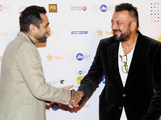 Bollywood actors Abhay Deol and Sanjay Dutt during the closing ceremony of MAMI film festival in Mumbai. (PTIPhoto)