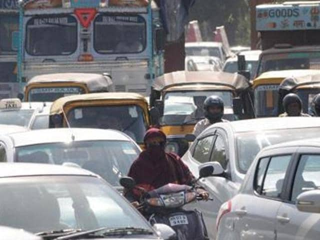 During the office hours, serpentine queues can be seen, and commuters slug it out on the roads in Chandigarh.